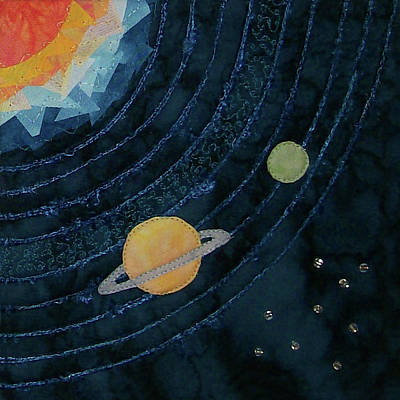 Tapestry - Textile - Saturn Orbiting by Pam Geisel