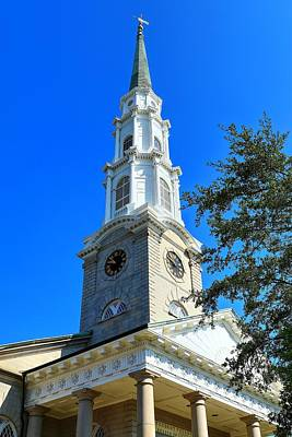 Photograph - Savannah Georgia Independent Presbyterian Church Steeple  by Carol Montoya