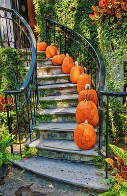 Photograph - Savannah Pumpkin Steps by Gary Slawsky