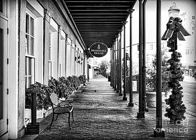 Photograph - Savannah Sidewalk Marshall House Black And White by Carol Groenen