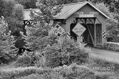 Photograph - Saville Covered Bridge In The Woods Black And White by Adam Jewell