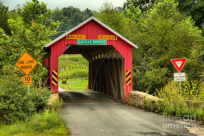 Photograph - Saville Covered Bridge Lush Landscape by Adam Jewell