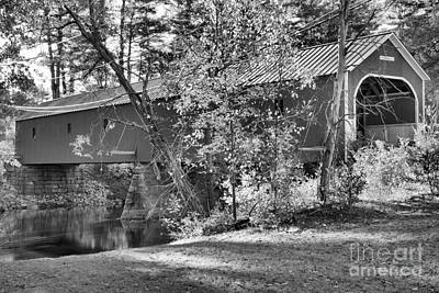 Photograph - Sawyers Crossing Covered Bridge Black And White by Adam Jewell