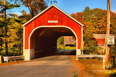 Photograph - Sawyers Crossing Covered Bridge Landscape by Adam Jewell