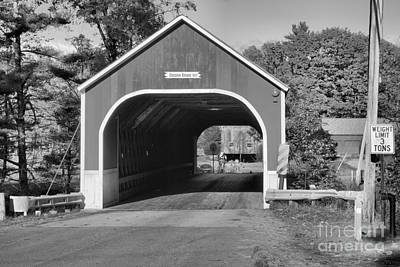Photograph - Sawyers Crossing Covered Bridge Landscape Black And White by Adam Jewell