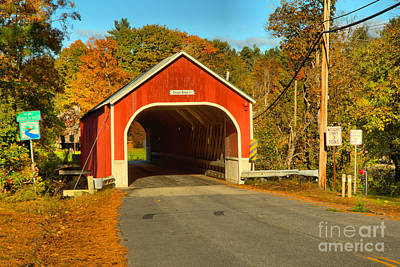 Photograph - Sawyers Crossing Road Covered Bridge by Adam Jewell