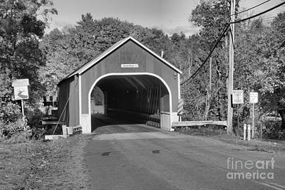 Photograph - Sawyers Crossing Road Covered Bridge Black And White by Adam Jewell