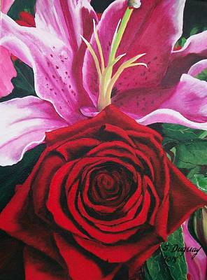 Sharon Knight Wall Art - Painting - Scarlet Knight And A  Lily  by Sharon Duguay