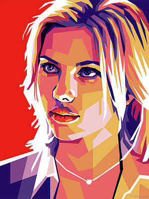 Colorful Button - Scarlett Johansson by Stars on Art