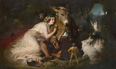 Painting - Scene From A Midsummer Night's Dream. Titania And Bottom by Edwin Landseer