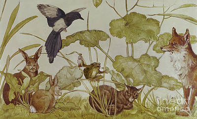 Painting - Scene From Aesops Fables by English School