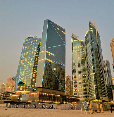 Scene Of Dubai Marina, Dubai, United Arab Emirates Art Print