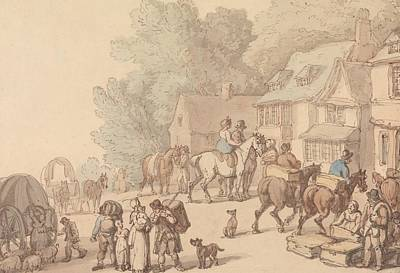 Drawing - Scene Outside An Inn by Thomas Rowlandson