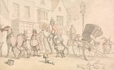 Drawing - Scene Outside The Half-moon Inn by Thomas Rowlandson