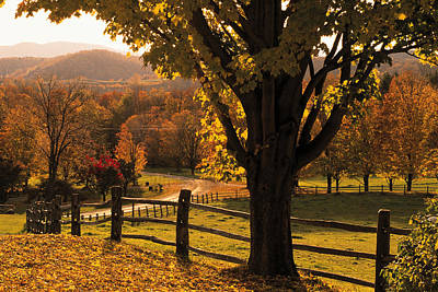Vermont Photograph - Scenic Ranch In Autumn , Woodstock by Comstock