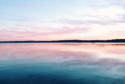 Scenic View Of Calm Sea Against Cloudy Art Print by Thomas Weng / Eyeem