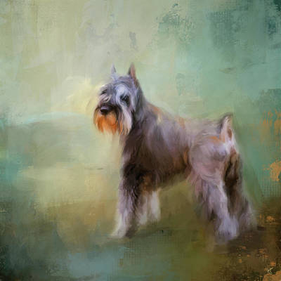 Painting - Schnauzer On Patrol by Jai Johnson