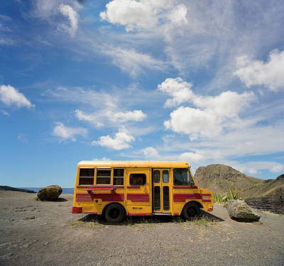 Photograph - School Bus On Beach by Ed Freeman
