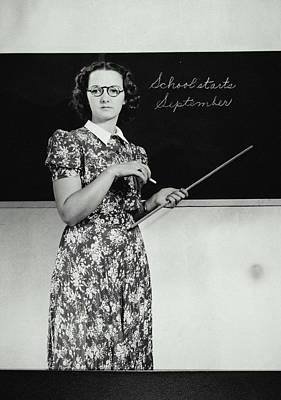 Disappointment Wall Art - Photograph - School Teacher Standing In Front Of by Archive Holdings Inc.