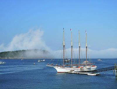 Photograph - Schooner At Bar Harbor Dock  by Lynda Lehmann
