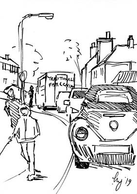 Drawing - Scoffers Fish And Chips Van In Exeter Drawing by Mike Jory