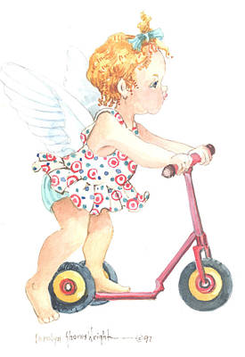 Wall Art - Painting - Scooter Cherub by Carolyn Shores Wright