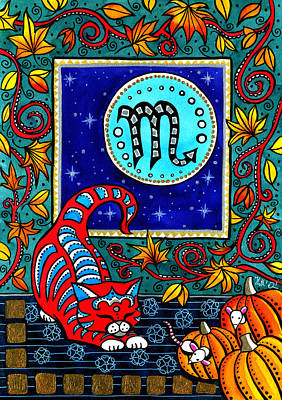 Painting - Scorpio Cat Zodiac by Dora Hathazi Mendes