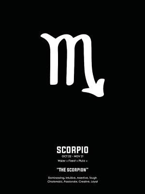 Mixed Media Royalty Free Images - Scorpio Print 2 - Zodiac Sign Print - Zodiac Poster - Scorpio Poster - Black, White - Scorpio Traits Royalty-Free Image by Studio Grafiikka
