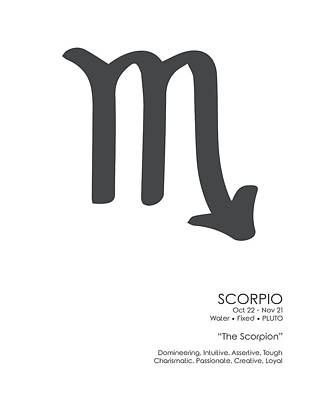 Mixed Media Royalty Free Images - Scorpio Print - Zodiac Signs Print - Zodiac Poster - Scorpio Poster - Black, White - Scorpio Traits Royalty-Free Image by Studio Grafiikka