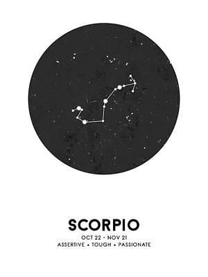 Mixed Media Royalty Free Images - Scorpio Print - Zodiac Signs Print - Zodiac Poster - Scorpio Poster - Night Sky - Scorpio Traits Royalty-Free Image by Studio Grafiikka