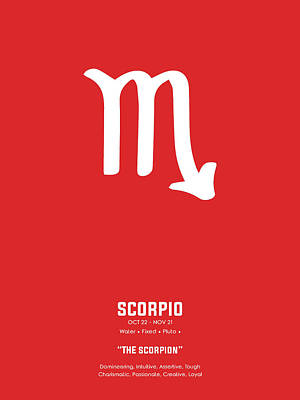Royalty-Free and Rights-Managed Images - Scorpio Print - Zodiac Signs Print - Zodiac Poster - Scorpio Poster - Red and White - Scorpio Traits by Studio Grafiikka
