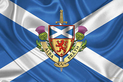Digital Art - Scotland Forever - Alba Gu Brath - Symbols Of Scotland Over Flag Of Scotland by Serge Averbukh