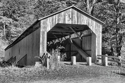 Photograph - Scott Covered Bridge Black And White by Adam Jewell