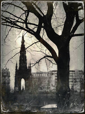 Photograph - Scott Monument Silhouette by Dave Bowman