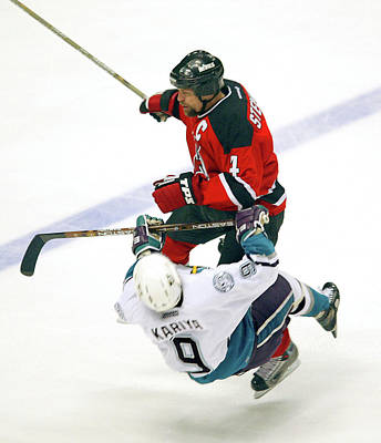 Photograph - Scott Stevens Hits Paul Kariya by B Bennett