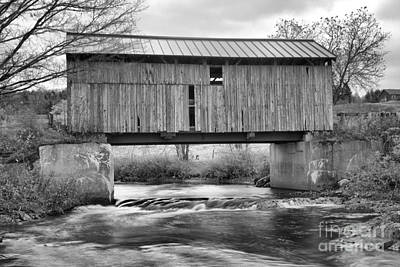 Photograph - Scribner Covered Bridge Black And White by Adam Jewell