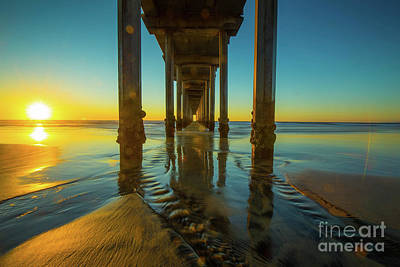 Photograph - Scripps Pier San Diego Sunset 2 by Edward Fielding