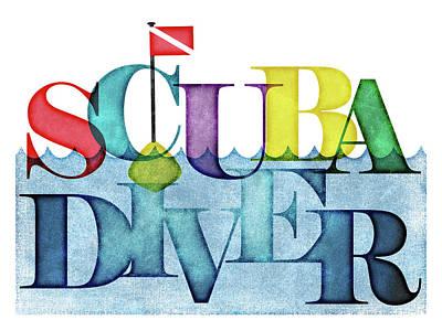 Scuba Diving Wall Art - Digital Art - Scuba Diver Colorful by Flo Karp