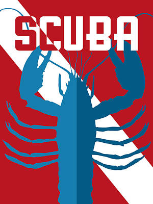 Scuba Diving Wall Art - Digital Art - Scuba Lobster by Flo Karp