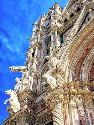 Photograph - Sculptures At The Duomo Di Siena Facade by John Rizzuto