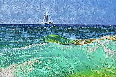 Painting - Sea A18-58 by Ray Shrewsberry