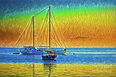 Painting - Sea Boats A18-21 by Ray Shrewsberry
