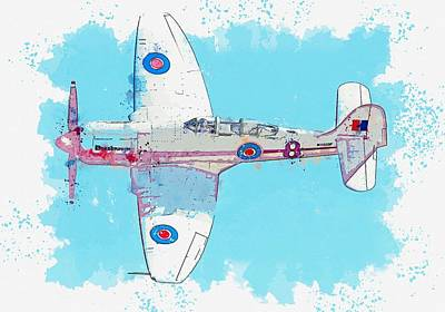 Bath Time Rights Managed Images - Sea Fury FB 11 Naval Aircraft - War Thunder Deadnought watercolor by Ahmet Asar Royalty-Free Image by Celestial Images