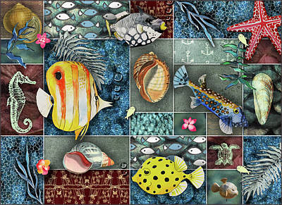 Digital Art - Sea Life Collage by Linda Carruth