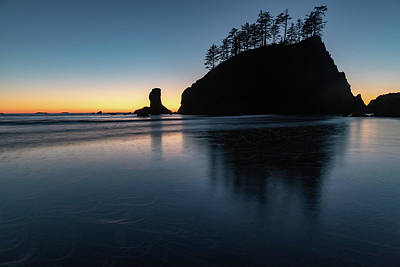Art Print featuring the photograph Sea Stack Silhouette by Ed Clark