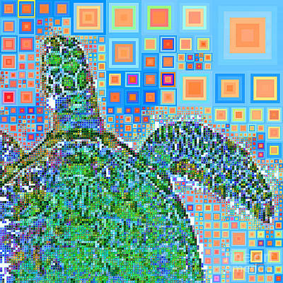 Photograph - Sea Turtle In Abstract Squares 20190202sq P168 by Wingsdomain Art and Photography