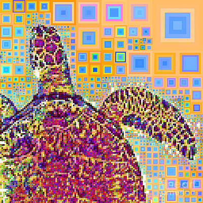 Photograph - Sea Turtle In Abstract Squares 20190202sq by Wingsdomain Art and Photography