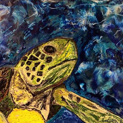 Painting - Sea Turtle In Wild  by Michael Giannella