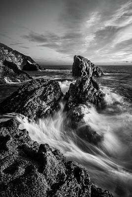 Photograph - Sea Waves Flowing On Rocks In Manarola, Black And White Fine Art by Matteo Viviani