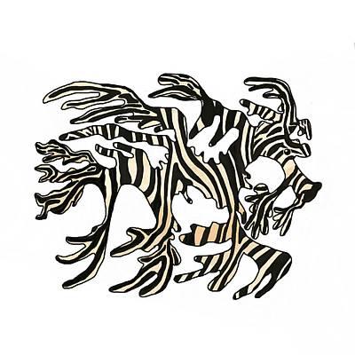 Wall Art - Mixed Media - Sea Zebra Dragon 1 by Joan Stratton